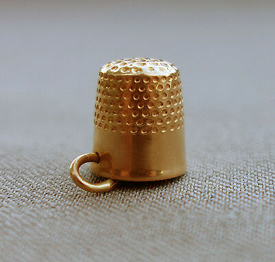 14K Yellow Gold Sewing THIMBLE CHARM or PENDANT;D819