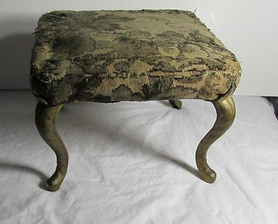 Antique Wood Foot Stool Cushion Top Cast Iron Legs Clean As Found