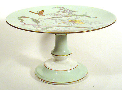 1870s Porcelain AESTHETIC Tazza Centerpiece Pedestal Dish Cake Stand BUTTERFLIES