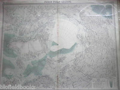 Original 1925 Antiquarian Map of North Polar Regions - Times Atlas, Arctic