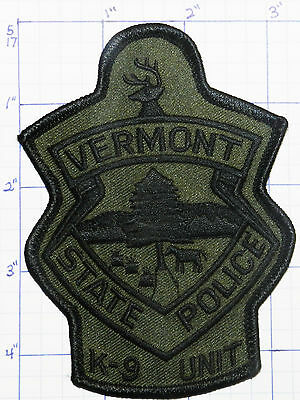 Vermont State Police Dept Subdued K-9 Unit Patch