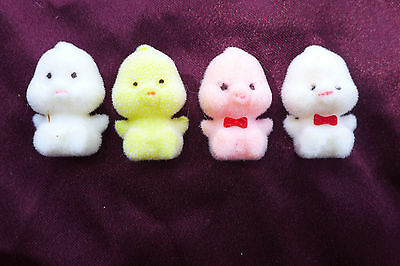 Vintage Mini Fuzzy Flocked Chicks Chickens Easter White Pink Taiwan Crafts