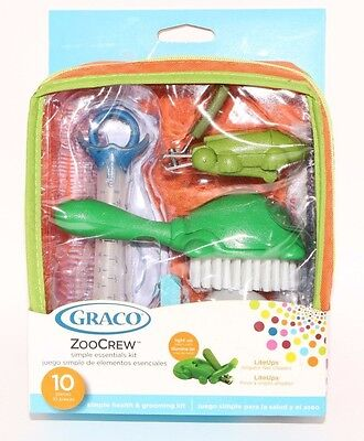 Graco Zoo Crew Simple Essentials Baby Grooming Kit 10 Pieces Nail Clippers New