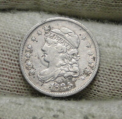1835 Capped Bust Half Dime H10C 5 Cents - Nice Old Coin, Free Shipping  (6151)