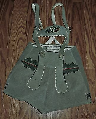 Vintage Bavarian German Children's Lederhosen Shorts - Leather Suede