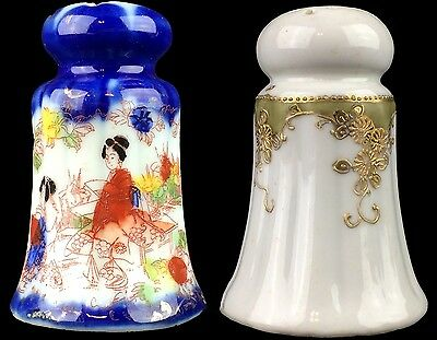 Salt Pepper Set Mismatched Japanese Porcelain Painted one Goldtone Filigree