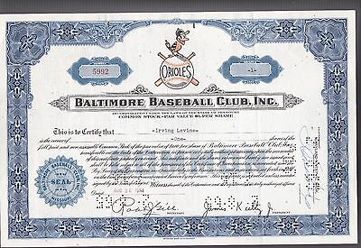 1964 BALTIMORE Orioles BASEBALL CLUB, INC.  - RARE Stock Certificate - Superb