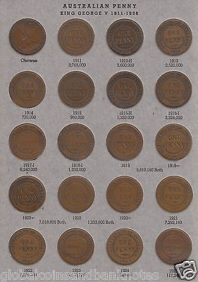 Australia - Complete Set of Pennies 1911-1964 including 1925,1946 ..(no 1930) *1