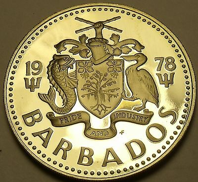Barbados 1978 2 Dollars Rare Proof~4,436 Minted~Staghorn Coral With Fish~Fr/Ship