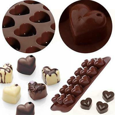 Silicone 15-Heart Shaped Choclate Mould Tray Bakeware Cake Decorating Jelly Mold