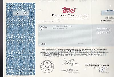 1991 The TOPPS COMPANY, INC.  - RARE Stock Certificate - Uncancelled 10 shares