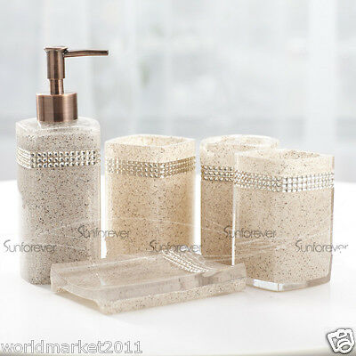 Transparent Resin 5-in-1 Soap Dish/2Tooth Mugs/Emulsion Bottle/Toothbrush Holder