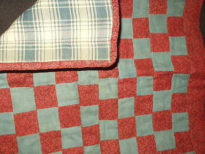 Antique 1900 Patchwork Doll Quilt Red Black Calico Blue Fabric Homespun Back