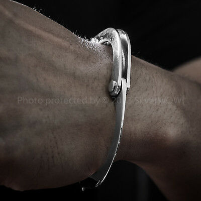 Rare Hand Crafted Mens Silver Handcuff Bracelet with T- Bar Lock.