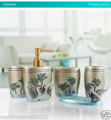 Lividity Resin 5-in-1 Soap Dish/ 2Tooth Mugs/Emulsion Bottle/Toothbrush Holder