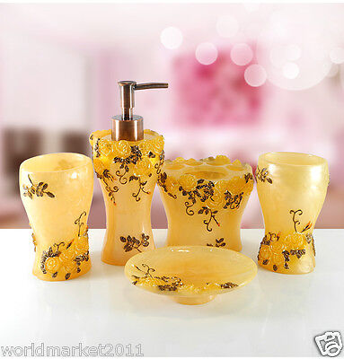 Yellow Resin 5-in-1 Soap Dish/ 2Tooth Mugs/Emulsion Bottle/Toothbrush Holder