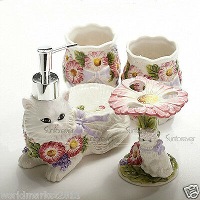 Color Ceramic 4-in-1 Soap Dish/ 2Tooth Mugs/Emulsion Bottle/Toothbrush Holder