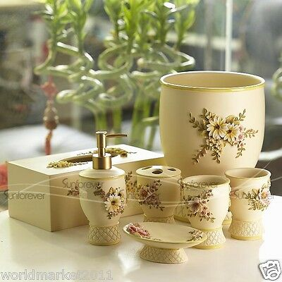 A13 Soap Dish/2Tooth Mugs/Emulsion Bottle/Toothbrush Holder/Trash Can/Tissue Box