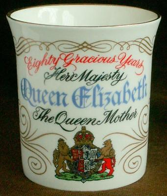Gilded bone china commerative Royal Mug / Cup 80yrs Queen Mother/ Elizabeth 1980
