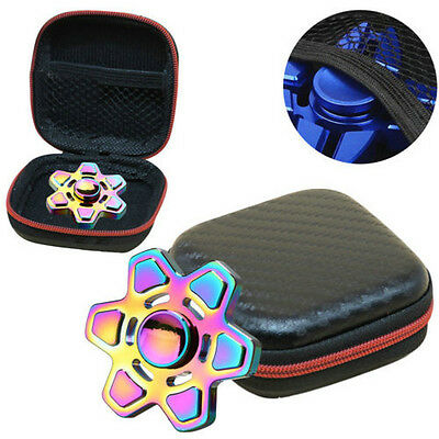black Fidget Hand Spinner Triangle Finger Toy for Focus ADHD Autism Box Bag Case