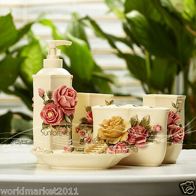 Six Edge Peony 5-in-1 Soap Dish/ 2Tooth Mugs/Emulsion Bottle/Toothbrush Holder