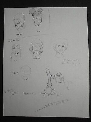 "Disney Promo ""Actor Sketches"" Signed & Hand Drawn Layout by Mark Simon #MS5"