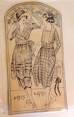 "1940s Original HAND DRAWN advertising illustration  DRESSES 6"" x 11""  AMAZING"
