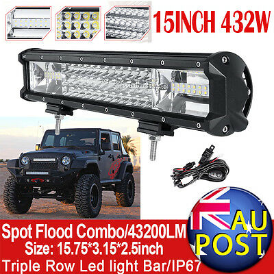 15Inch 432W Philips Spot&flood Trip-Rows Led Work Light Bar Offroad Driving 12""