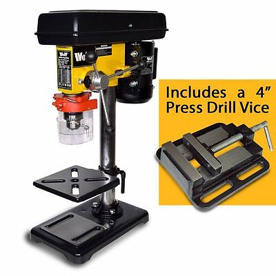 """Wolf Pillar Drill Press Bench Top Mounted Drilling 9 Speed 16mm & 4"""" Drill Vice"""