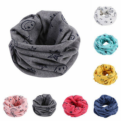 Toddler Kids Boys Smile Face Bandanas Neck Tube Warmer Scarves Scarf New