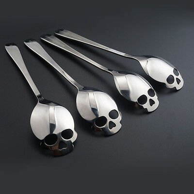 3PCS Stainless Utensil Sugar Skull Spoon Silverware Gift For Dessert Food Coffee