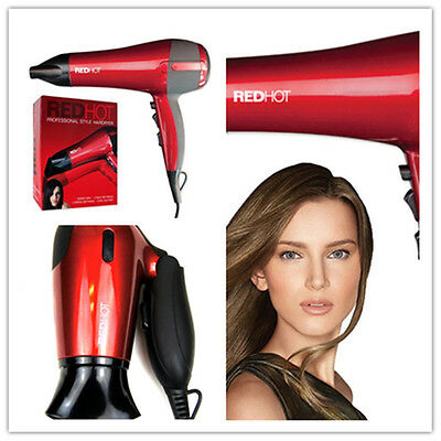 Red Hot Professional Style Hair Dryer 2200W Nozzle Concentrator Hairdryer