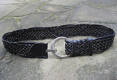 Wide Woven Black Leather Belt womens with silver patterned circle buckle – L