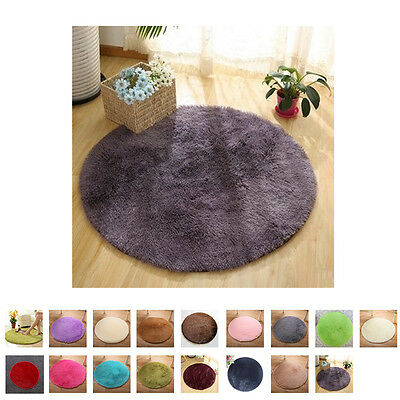 Anti-Skid Fluffy Rugs Shaggy Area Rug Carpet Round Floor Mat Room Home Bedroom