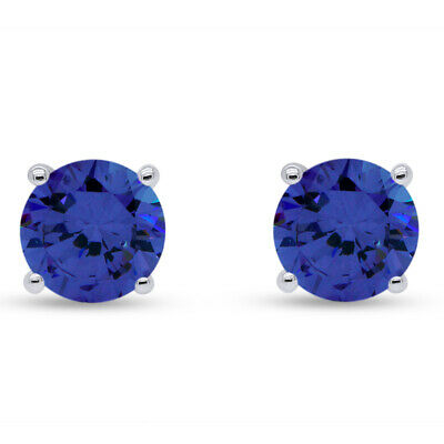 1.00 Ct Round Cut Tanzanite 14K White Gold Over Stud Earrings, 5MM