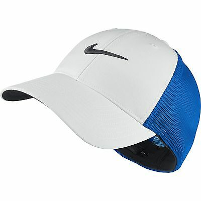 NEW Nike Legacy Tour Mesh White/Bright Blue Fitted S/M Hat Cap