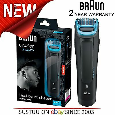 Braun Cruzer5 Cordless Rechargeable Mens Beard Shaper Trimmer Washable Shaver