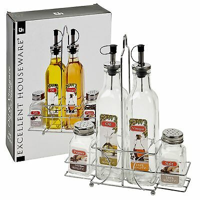 5 Pcs Home Oil & Vinegar Salt & Pepper Glass Bottle Cruet Dispenser Rack Holder