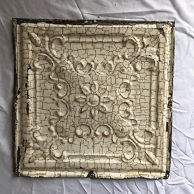 1890 12 x 12 Antique Tin Ceiling Tile Ivory Metal Reclaimed Anniversary  354-17