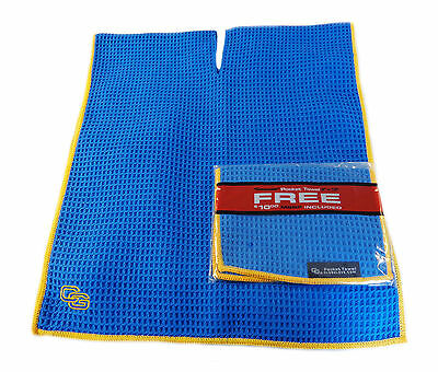 "NEW Club Glove Microfiber Caddy + Pocket Towel 17"" x 40"" Blue/Gold"
