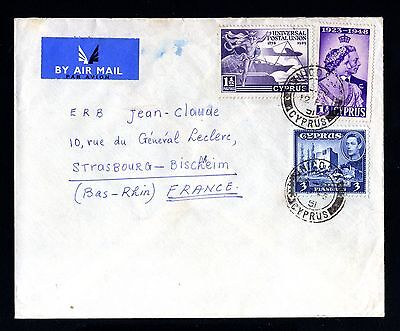 15205-CYPRUS-AIRMAIL COVER NICOSIA to STRASBOURG (france)1951.Zypern.CHYPRE.