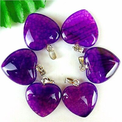 6Pcs Nice Purple Dragon Veins Agate Peach Heart Pendant Bead 23*20*7mm AE1606