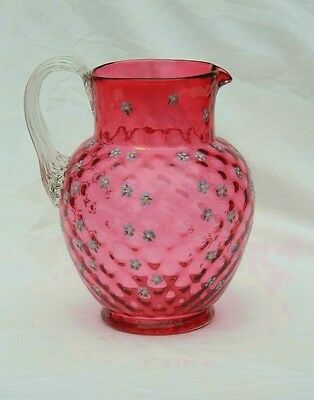 Cranberry Red Pitcher Diamond Lattice Optic Glass Hand Painted Depression