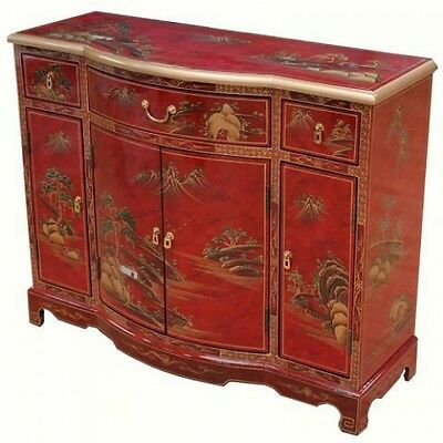 Red Mottled Hand Painted Lacquered Sideboard Oriental Furniture Chinese Art Feng