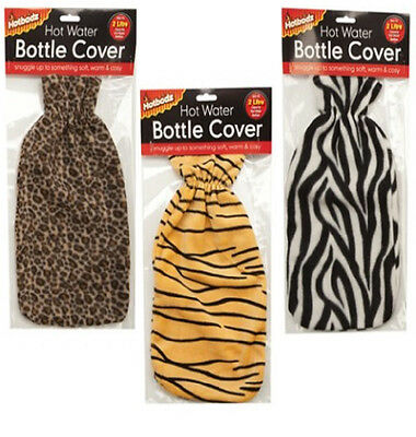 NEW Hot Water Bottle Cover Animal Zebra Tiger Leopard Fleece For 2 Litre Bottles