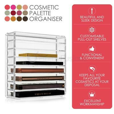 8 Tier/Slot Cosmetic Makeup Palette Organiser Holder Rack Clear Acrylic Divider