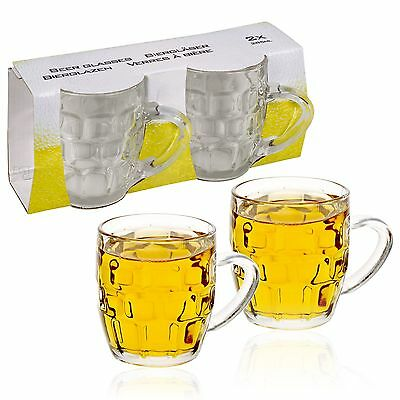2 Pack 285ml Beer Lager Glass Stein Tankard Glasses Dimpled Ale Mug