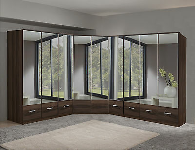 Qmax 'Imagine' Range. German Made Bedroom Furniture. Walnut & Mirrored Wardrobe.