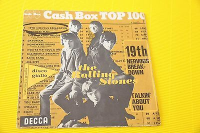 """Rolling Stones 7"""" 19Th Nervous .. Orig Italy Only Cover Not Record Solo La Coper"""