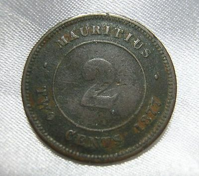 1877 Mauritius  2 Cents Bronze Coin Circulated